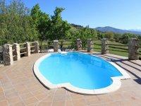 piscina llena de agua con arboles de fondo