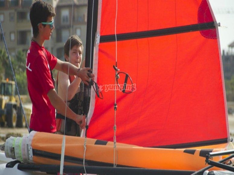 preparando el catamaran