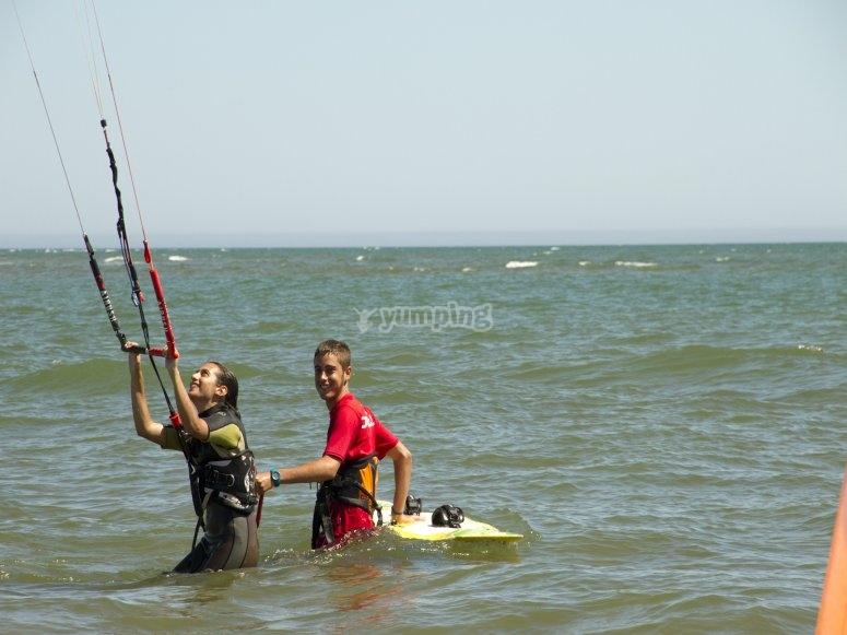 Aprendiendo kitesurf en Huelva