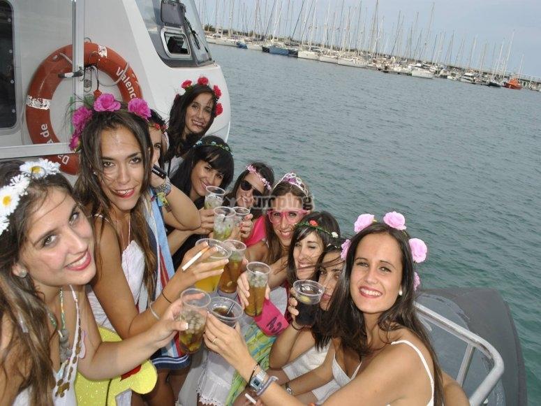 Celebrazione sulla barca
