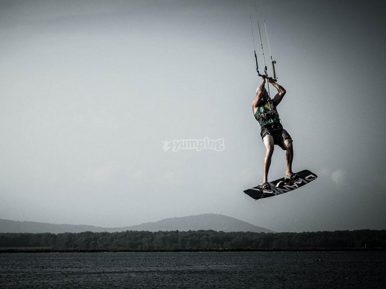 volando con el kitesurf