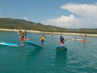 Fun learning to paddle surf