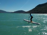 Paddling on the board SUP
