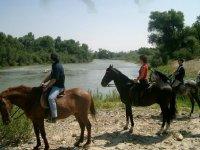 on horseback on the banks of the Ebro