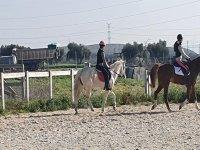 Alumnos de equitación durante la clase