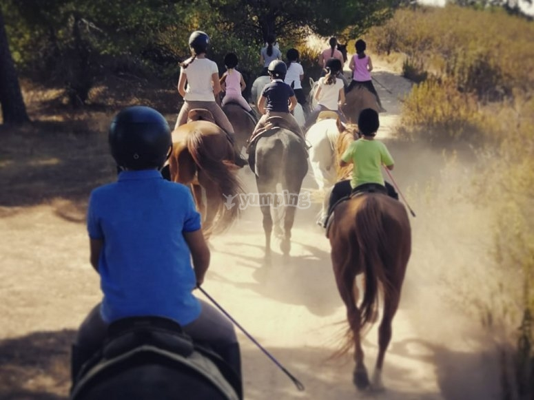 Haciendo una excursion a caballo