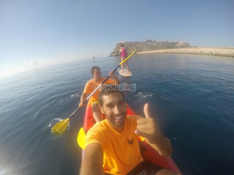 Navegando en kayak doble