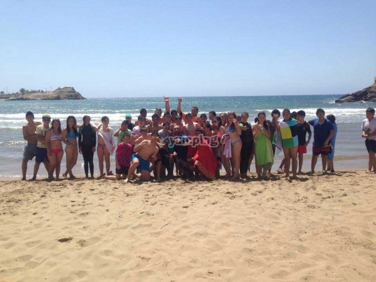 海滩上的小学生群体