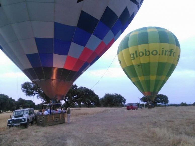 Dos globos preparados