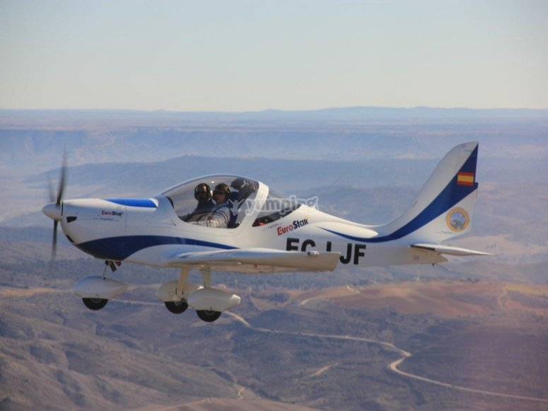 A light aircraft flying