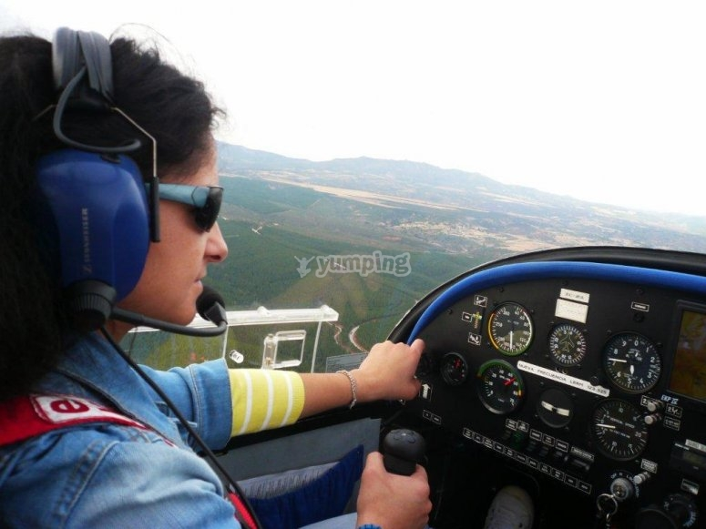 The pilot at the controls
