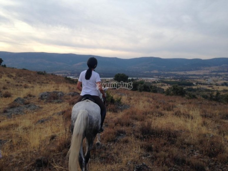 Panorámicas de la sierra madrileña del paisaje a caballo
