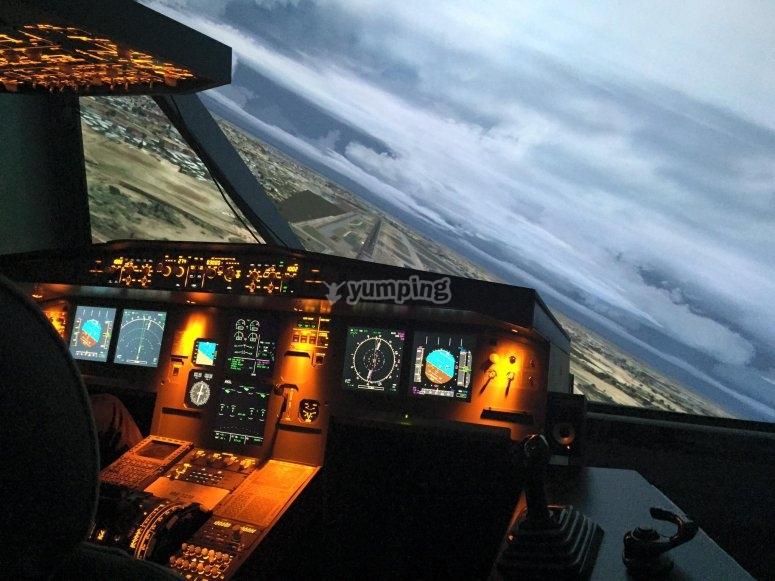 Simulador de vuelo en Cuatro Vientos