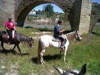 dos hombres montando a caballo debajo de un puente