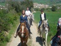 jovenes montando a caballo por un sendero arenoso