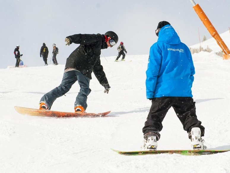 Sessione di snowboard