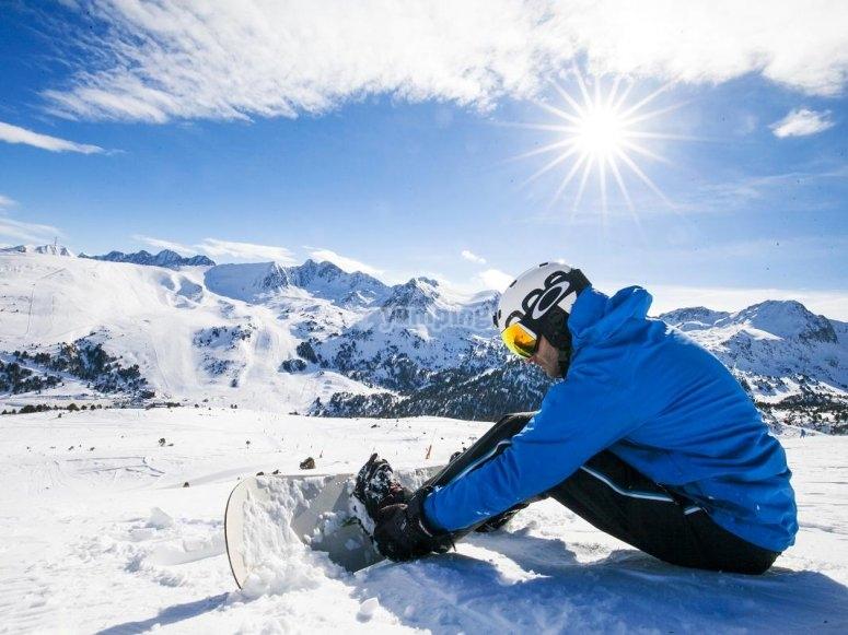 Descansando tras el snowoarding