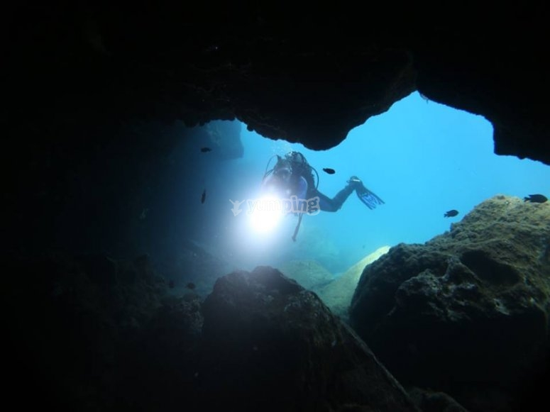 Entering the cave