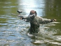 Paintball player in the water