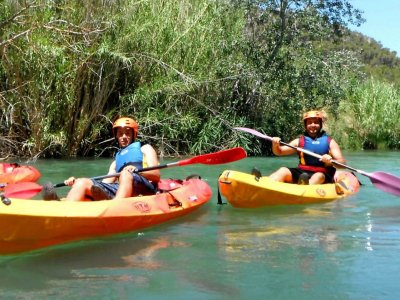 Rafting through the Cabriel river in calm waters