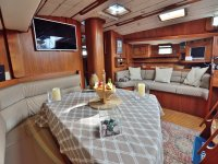 Dining area of ​​the boat
