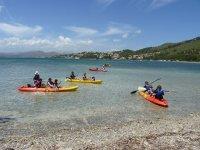familias disfrutando de un paseo en kayak