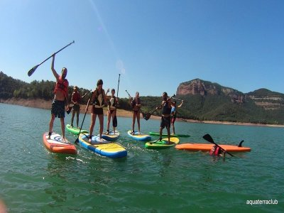 Paddle surf excursion in Susqueda reservoir