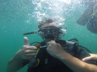 Low the water with the diving equipment