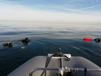 Divers near the boat