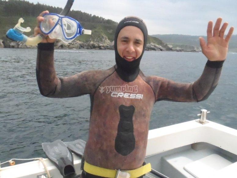 Listo para la pesca submarina