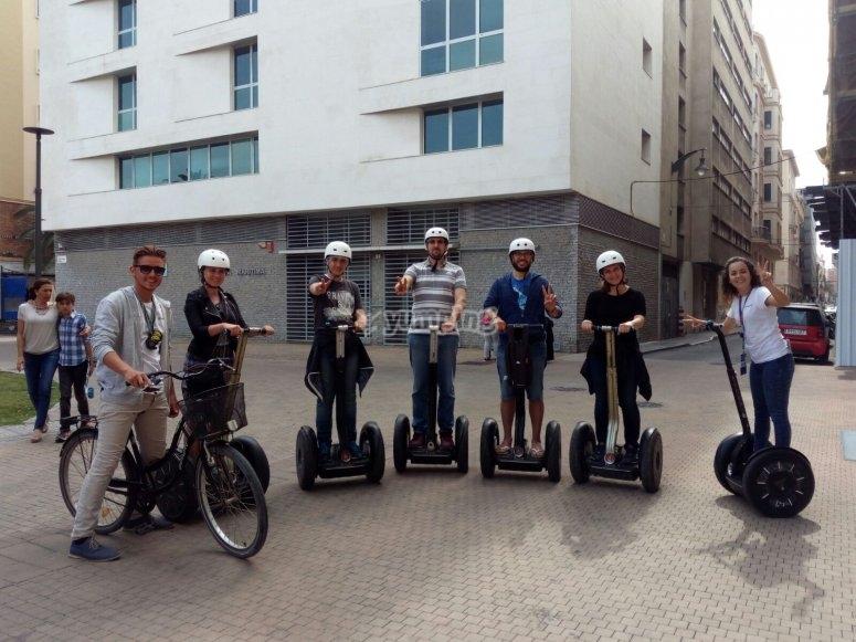 A group riding segways