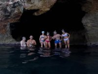 In the cave with the snorkeling equipment