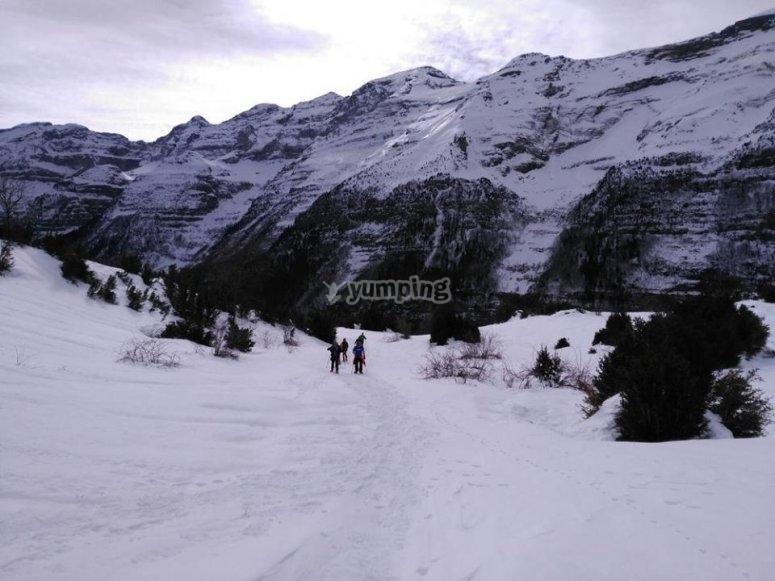 和雪鞋一起散步