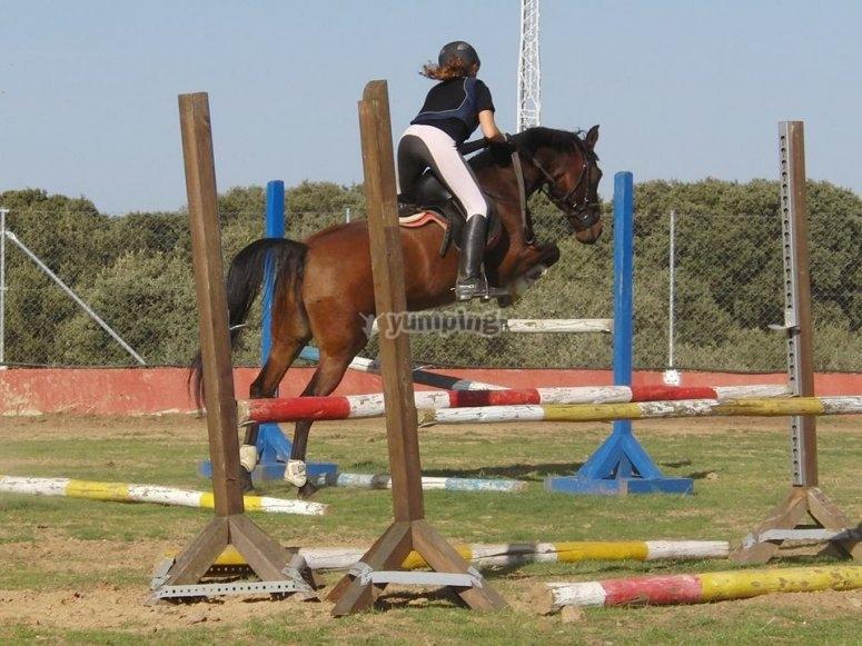 Haciendo saltos a caballo