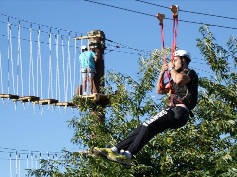 Zip-line and hanging bridge