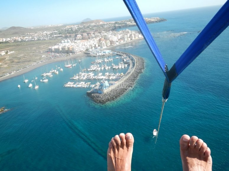 Parasailing up in the sky