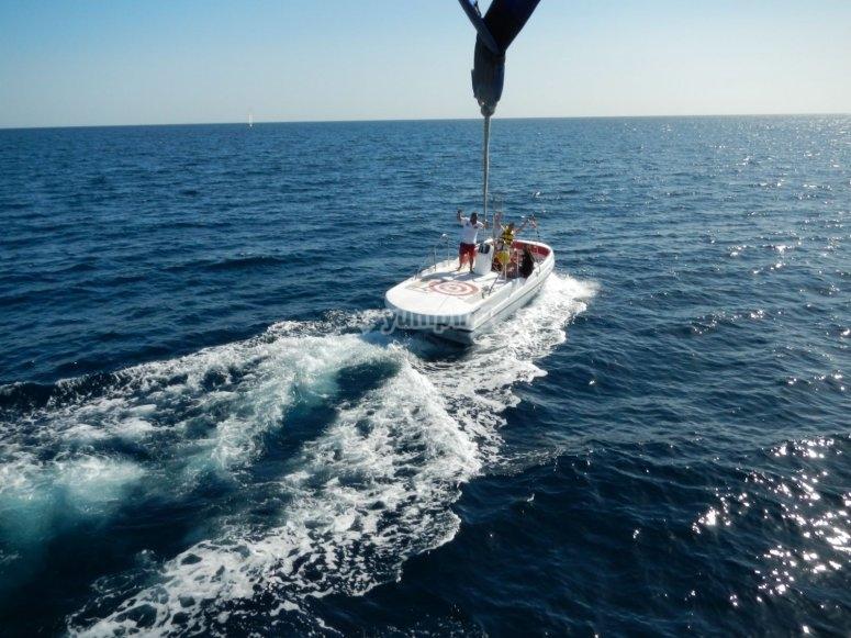 Boat lifting the parasail