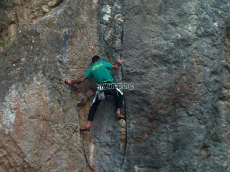 Practicing climbing