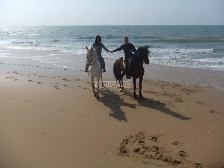 A couple riding at the beach