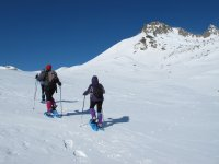 hiking with snowshoes