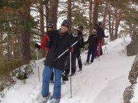 En Canencia con raquetas de nieve