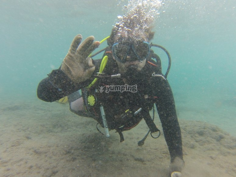 跳水在特内里费岛潜水与海龟