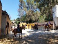 Montados sobre el caballo para una jornada en el campamento