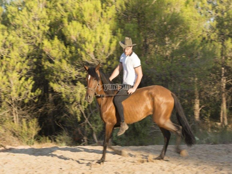 Montando a caballo en el rancho