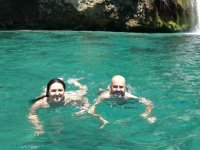 夫妇采取的海滑水洗澡水头