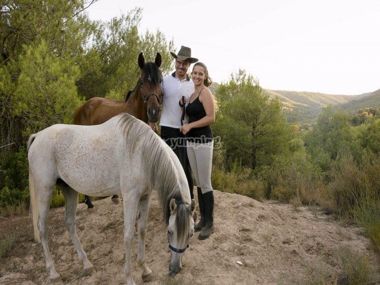 Horsewoman and horseman