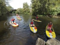 Grupo de paddle surf en rio