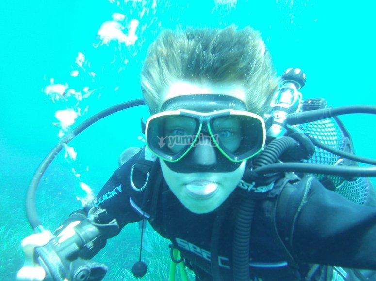 Probando el buceo en Menorca