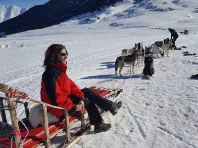 Dog Sledding experience kids Pla de Beret 20 min