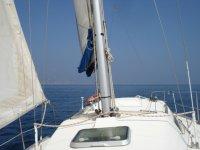 cubierta de un barco en alta mar